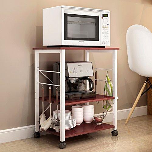 Polar Aurora 3-Tier 24'' Microwave Stand Storage Kitchen Baker's Rack Utility Microwave Oven Stand Storage Cart Workstation Shelf (Walnut) by Polar Aurora