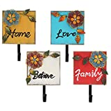 OwnMy Pack of 4 Assorted Colors Retro Style Vintage Metal and Wood Art Flower Design'Family, Home,...
