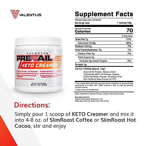 Valentus Prevail Keto Coffee Creamer: Mct Oil Powder 7 Oz | 20 Servings by VALENTUS (Image #4)