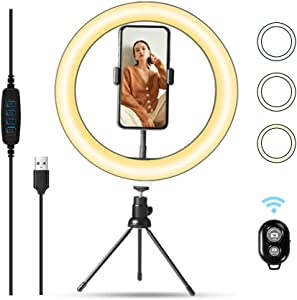 Ring Light with Phone Holder, LED Ring Light Desktop Selfie Lamp Dimmable 3 Colors 10 Brightness with Tripod Stand & Cell Phone Holder and Remote Control for Live Streaming & YouTube Video & Makeup