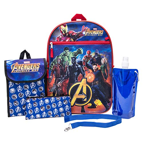 Marvel Avengers Backpack Combo Set - Avengers Boys 6 Piece Backpack Set (Navy)