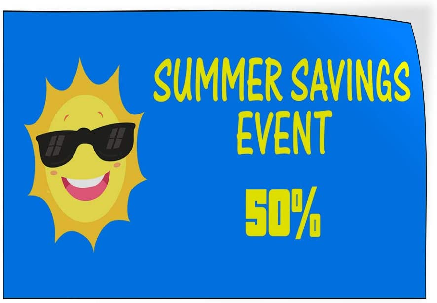 Custom Door Decals Vinyl Stickers Multiple Sizes Summer Savings Event Percentage Business Sale Outdoor Luggage /& Bumper Stickers for Cars Blue 52X34Inches Set of 5