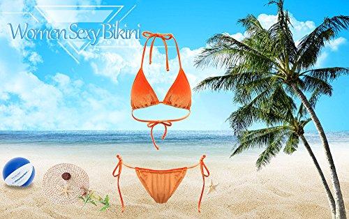 del stringa bagno Reale di triangolo DressLily da Bikini del Blu Halter della velluto costume del legame del InXqqf5va