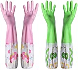 Cotton-Lined Plastic Rubber Gloves - Reusable Extra Long Glove for Dishwashing Dish Cleaning Wash Dishes - 2-Pairs - Pink and Green