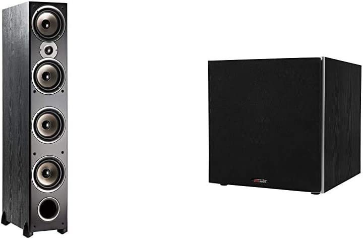 "Polk Audio Monitor 70 Series II Tower Speaker for Multichannel 1"" Tweeter, (4) 6.5"" Woofers & Audio PSW10 10"" Powered Subwoofer - Featuring High Current Amp and Low-Pass Filter 