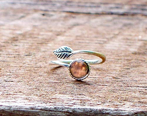 (Recycled Antique Pink Depression Glass Sterling Silver Leaf Ring)