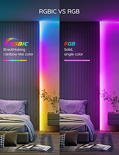 Tira de luces LED RGBIC Govee de 65,6 pies, luces LED que cambian de color, control de aplicaciones a través de Bluetooth, control segmentado, modos de escena múltiple y modo de música mejorado para dormitorio, habitación, cocina, fiesta (2 x 32,8 pies)