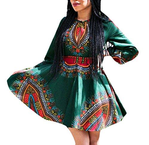 Floreale donne Africano Dashiki Fuori Sexy Partito Scava Manicotto Una Lungo Coolred Tunica Tribale Abiti Midi Verde La Di Linea X5x1A