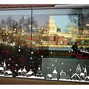 heekpek Adesivi Natalizi PVC Riutilizzabile Fiocco di Neve e Piccola Città Adesivi per finestre Decorazione Natalizia Decorazione per la casa Adesivi per specchi da Cucina per Frigorifero 6 spesavip