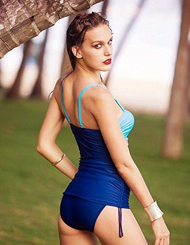 Traje de baño para mujer biquini de color de contraste Beachwear azul oscuro