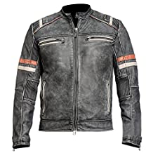 Café Racer Distressed Black Retro Vintage Motorcycle Slimfit Leather Jacket