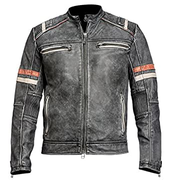 Distressed Black Retro Men's Vintage Café Racer Motorcycle Leather Jacket (4X-Large, Black)