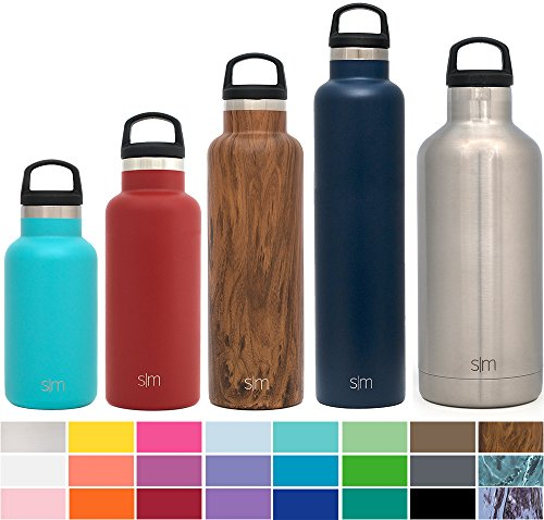 Simple Modern 24oz Ascent Water Bottle - Vacuum Insulated Narrow Mouth Powder Coated Aluminum 18/8 Stainless Steel Navy Swell Flask - Double Walled Hydro Travel Mug - Deep Ocean