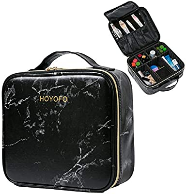 HOYOFO Travel Makeup Train Case with Adjustable Dividers Marble Makeup  Organizer Bag Portable Cosmetic Storage Cases with Brush Holders, Black