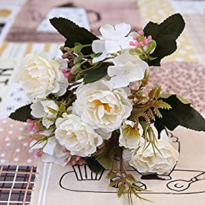 GSD2FF Peony DIY Party Decoration Vintage Silk Artificial Flowers Small Rose Wedding Festival Supplies Home Decor Bouquet,White 50