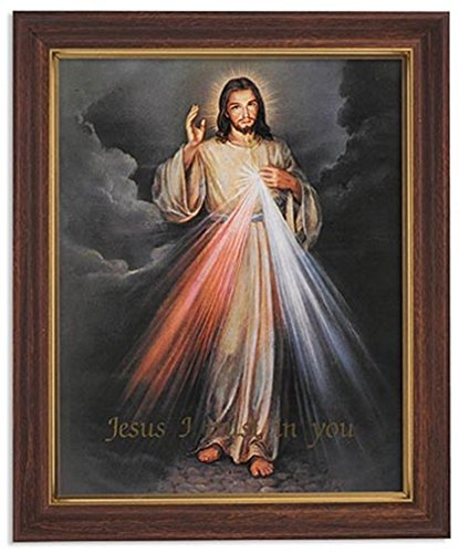 Jesus Divine Mercy - Gerffert Collection The Divine Mercy Framed Portrait Print, 13 Inch (Wood Tone Finish Frame)