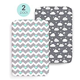 COSMOPLUS Stretch Fitted Pack n Play Playard Sheets – 2 Pack for Mini Crib Sheet Set,Pack n Play Mattress Cover, Ultra Stretchy Soft,Whale/Cloud
