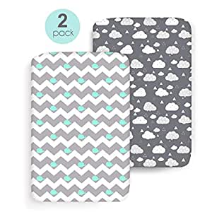 cosmoplus Stretch Fitted Pack n Play Playard Sheets - 2 Pack for Mini Crib Sheet Set,Pack n Play Mattress Cover, Ultra Stretchy Soft,Whale/Cloud