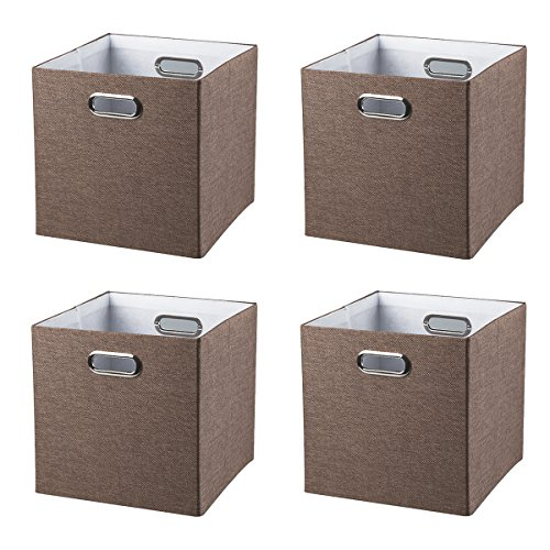 BAIST Foldable Storage Box Set,Heavy Duty Square Colored Fabric Storage Cubes Bins Baskets for playroom Bedroom Shelf,Set of 4,Brown ()