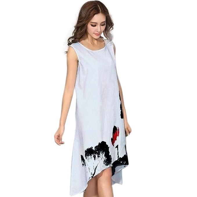 Vestidos Vintage Ladies Women Summer Loose Mini Vestido Sin Mangas Vestido Ropa De Fiesta Vestido De