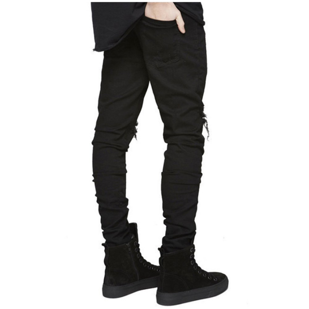 LONGBIDA Slim Fit Ripped Jeans Men Hi-Street Mens Distressed Denim Joggers Knee Holes Washed Destroyed Jeans(Black,34) by LONGBIDA (Image #3)