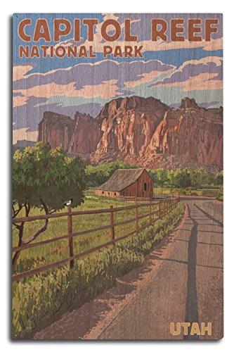 (Lantern Press Capitol Reef National Park, Utah - Barn View (10x15 Wood Wall Sign, Wall Decor Ready to Hang))