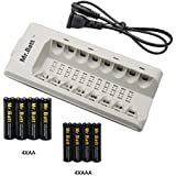 Mr.Batt 8 Bay AA AAA Smart Battery Charger with 4 Pack AA (2600mAh) and 4 Pack AAA (1000mAh) Rechargeable Batteries