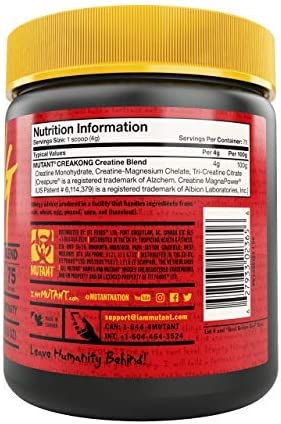 MUTANT CREAKONG, Creatine Supplement and Workout Boost Absorption (300 g), 75 servings