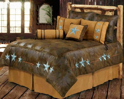 Western Bedding Embroidered Blue Turquoise Star Queen