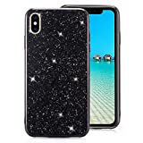 iPhone 7/iPhone 8 Case [with Free Screen Protector],Funyee Luxury Shiny Sparkle Diamond Ultra-Thin Silicone Gel TPU Anti Scratch Durable Rubber Smart Case for iPhone 7/iPhone 8 4.7 inch,Black