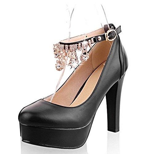 BalaMasa donna fibbia solido tacchi alti scarpe pompa, Nero (Black), 35 EU