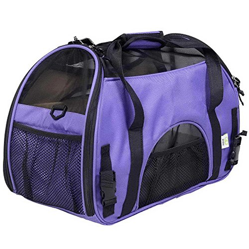 YUDODO Pet Carrier Airline Approved, Soft-Sided Pet Travel Carrier for Little Petite Dogs and Cats-with Fleece Pads and Storage Case, Machine Washable (Purple) Review