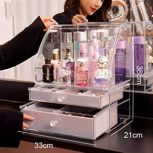 化粧品収納ボックス 大容量の多層透明アクリル化粧品収納ボックススキンケアジュエリーボックスシェルフ透明パープル DSJSP (Color : Clear, Size : B)