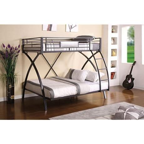 Furniture Of America Garrett Twin Over Full Bunk Bed Gunmetal And Chrome Finish