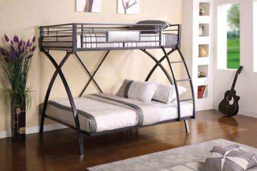 Furniture of America Garrett Twin Over Full Bunk Bed, Gunmet