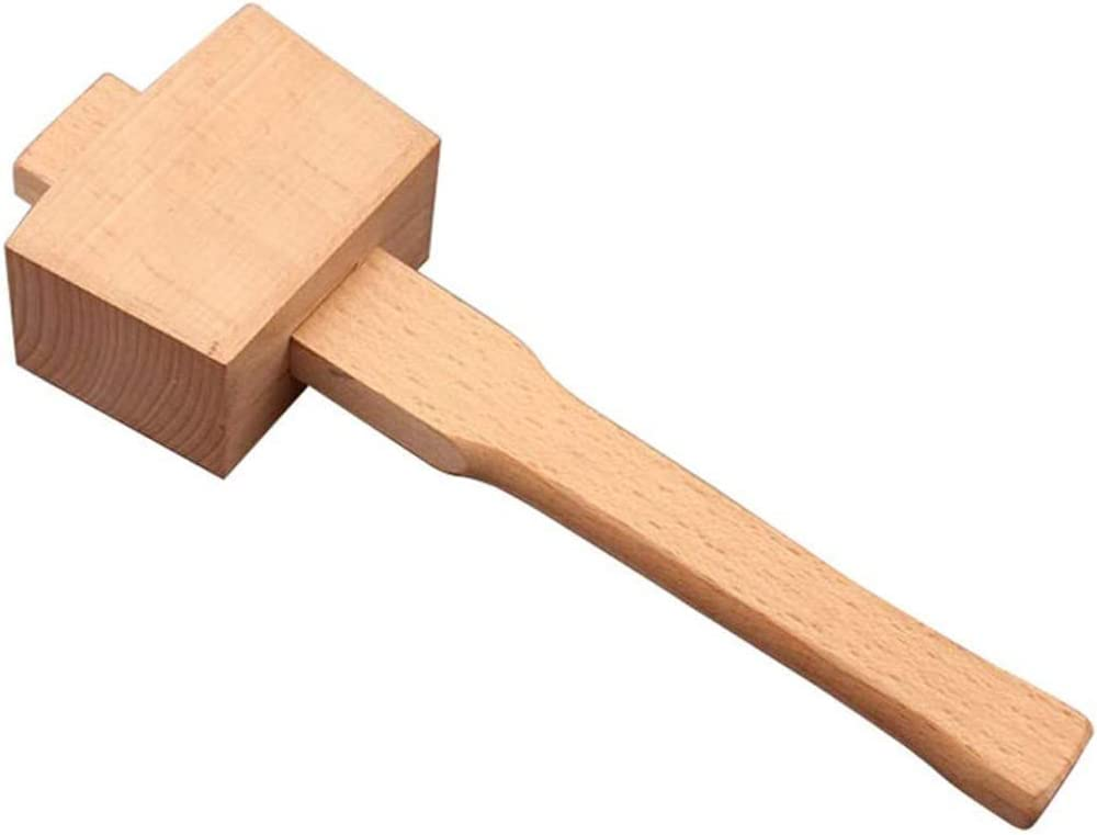 JUANstore Hammer Maillet in Wood Beech Handle with Comfortable Strike From Surface Inclined Hammer Wood Joinery for DIY Tool Wood Work,A A