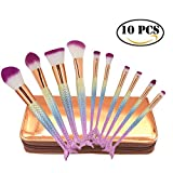 10 Pieces Make Up Brushes Set With Bag, Barleyard Cosmetic Brushes Set With Mermaids Shape (sea green)