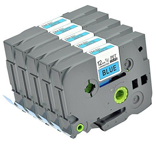 5PK Brother Compatible P Touch Label Tape TZe-531 TZ-531 TZo-531 Black on Blue TZ TZe Refills 1/2inch (12mm .47'') Cartridge by Label Orison