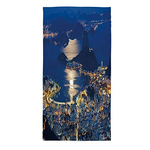 Night Fashionable Tablecloth,Aerial View of Mountain Sugar Loaf and Botafogo Rio de Janeiro for Secretaire Square Table Office Table,60''W X 120''L