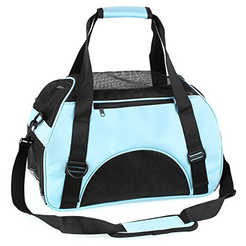 PEDY Soft-Sided Pet Carrier,Airline Approved Under Seat Handbag Shoulder Bag, Pet Travel Carrier for Dogs and Cats, Blue