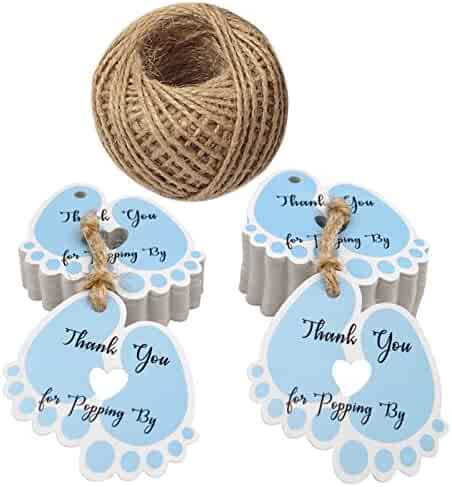 Original Design Thank You for Popping by Tags,Baby Shower Tags,100PCS Thank You Paper Gift Tags with 100 Feet Jute Twine (6x5.5 cm Blue)