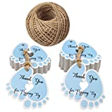 Baby Shower Favour Tags,100 PCS Small Size Gift Tags,Lovely'Thank You for Popping by' Tags,5.5 * 6 cm Lovely Foot Shape Tags with 30 Meters Jute Twine(Blue)