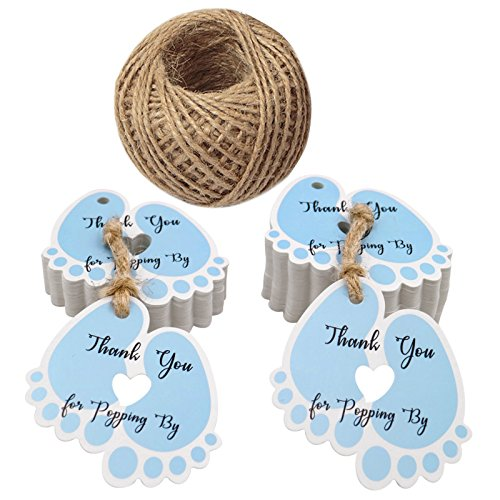 Baby Shower Thank You Gifts (Original Design Thank You for Popping by Tags,Baby Shower Tags,100PCS Thank You Paper Gift Tags with 100 Feet Jute Twine (6x5.5 cm)