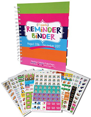 Reminder Binder Planner + Bonus Set of 432 Planner Stickers Gift Set (Planner + Busy Mom Stickers)