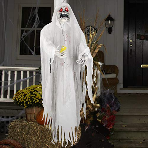 Animated Hanging Grim Reaper - Ghost Halloween Decorations - Poseable Lifesize Halloween Prop Skull with Motion Sensored LED Glowing Eyes and Creepy Shrilling Sound for Halloween Party Decoration -