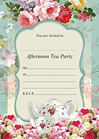 10 x Afternoon Tea Birthday Party Invitations with Blue envelopes