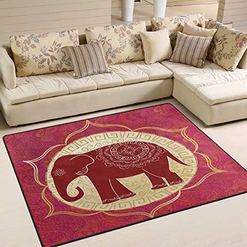 (Area Rugs Carpet Doormats 63x48 inches Red Indian Elephant Mandalas Living Room Bedroom Decorative Non-Slip Floor Mat)