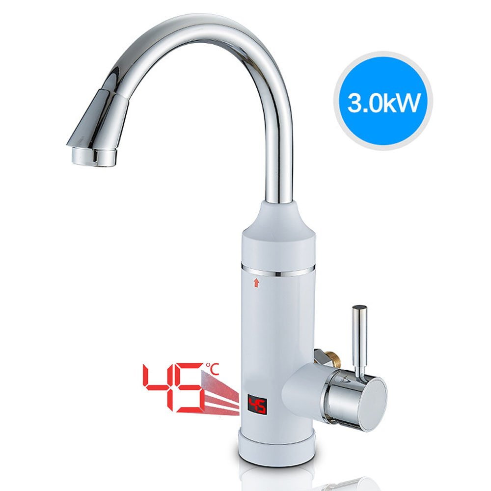 CLDGF Smart Kitchen Faucet 3000W Speed Temperature Display 220V Electric Water Faucet 360 Degree Rotation Electric Water Heater Water Heater Kitchen Kitchen Po,Sideinlet
