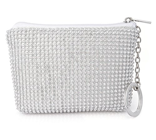 (Crystal Coin Purse Women Card Cases Mini Wallet with Keychain Pouches)