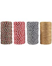 MEETWIN 4 Rolls 2mm Twine Cotton String Rope Cord Natural Jute for Christmas Gift Wrapping DIY Arts Crafts Baker Twines for Holiday Gift Festive Decoration and Gardening Applications 1312 Feet Totally
